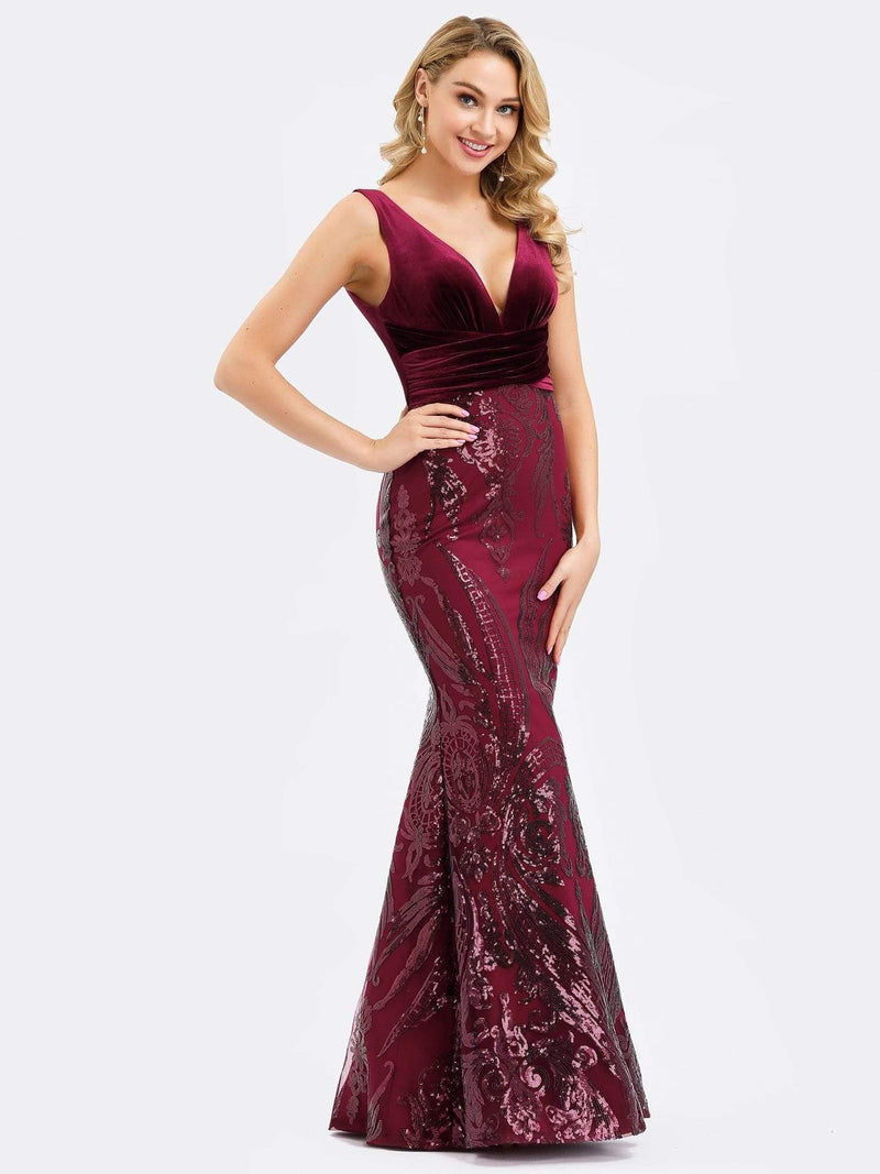 Women'S Double V-Neck Patchwork Bodycon Mermaid Dress-Burgundy 5