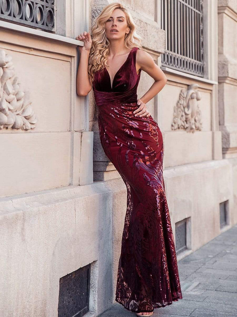 Women'S Double V-Neck Patchwork Bodycon Mermaid Dress-Burgundy 2
