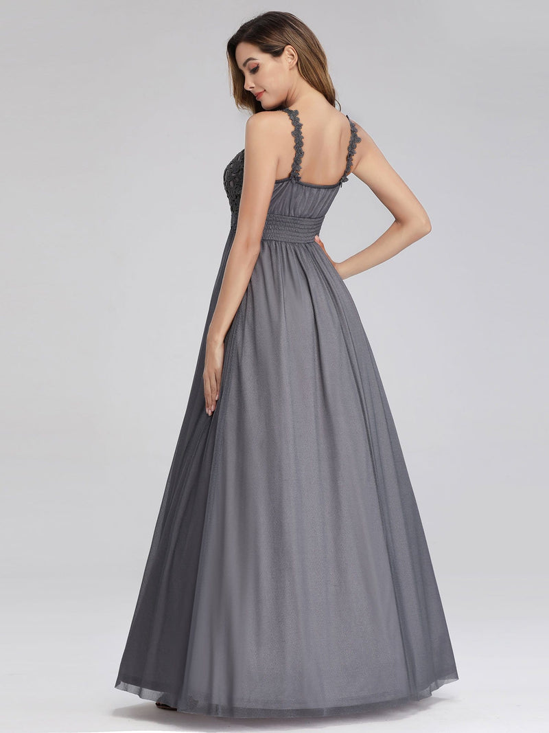 Women'S V-Neck Sleeveless Floral Lace Bridesmaid Dress-Grey 2