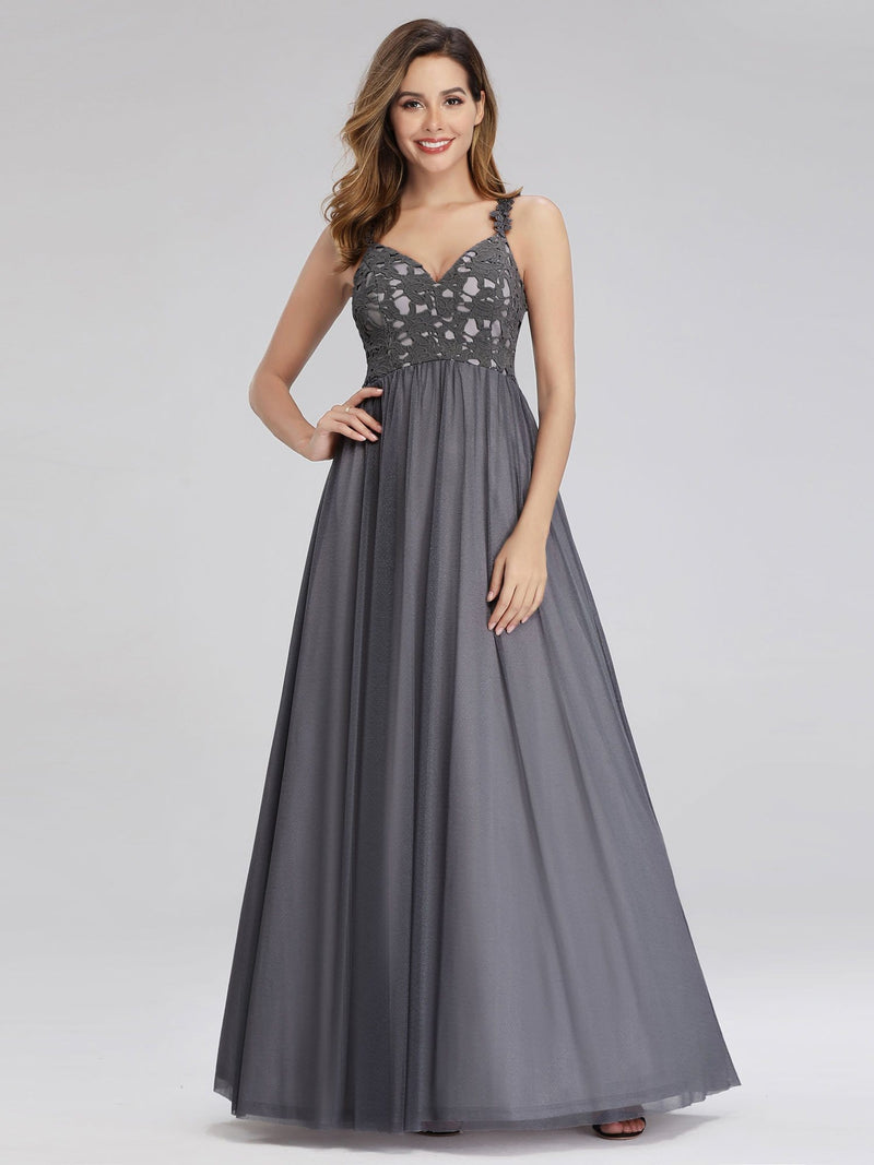 Women'S V-Neck Sleeveless Floral Lace Bridesmaid Dress-Grey 4