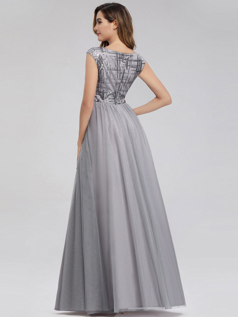 Ever-Pretty Aplique Floor Length Evening Dresses-Grey 2