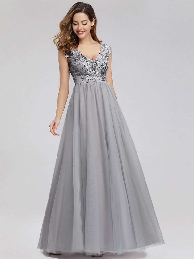 Ever-Pretty Aplique Floor Length Evening Dresses-Grey 3