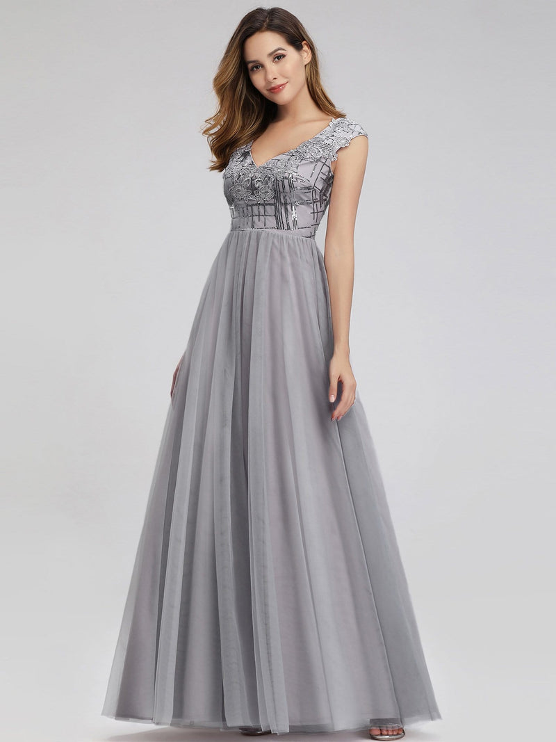 Ever-Pretty Aplique Floor Length Evening Dresses-Grey 1
