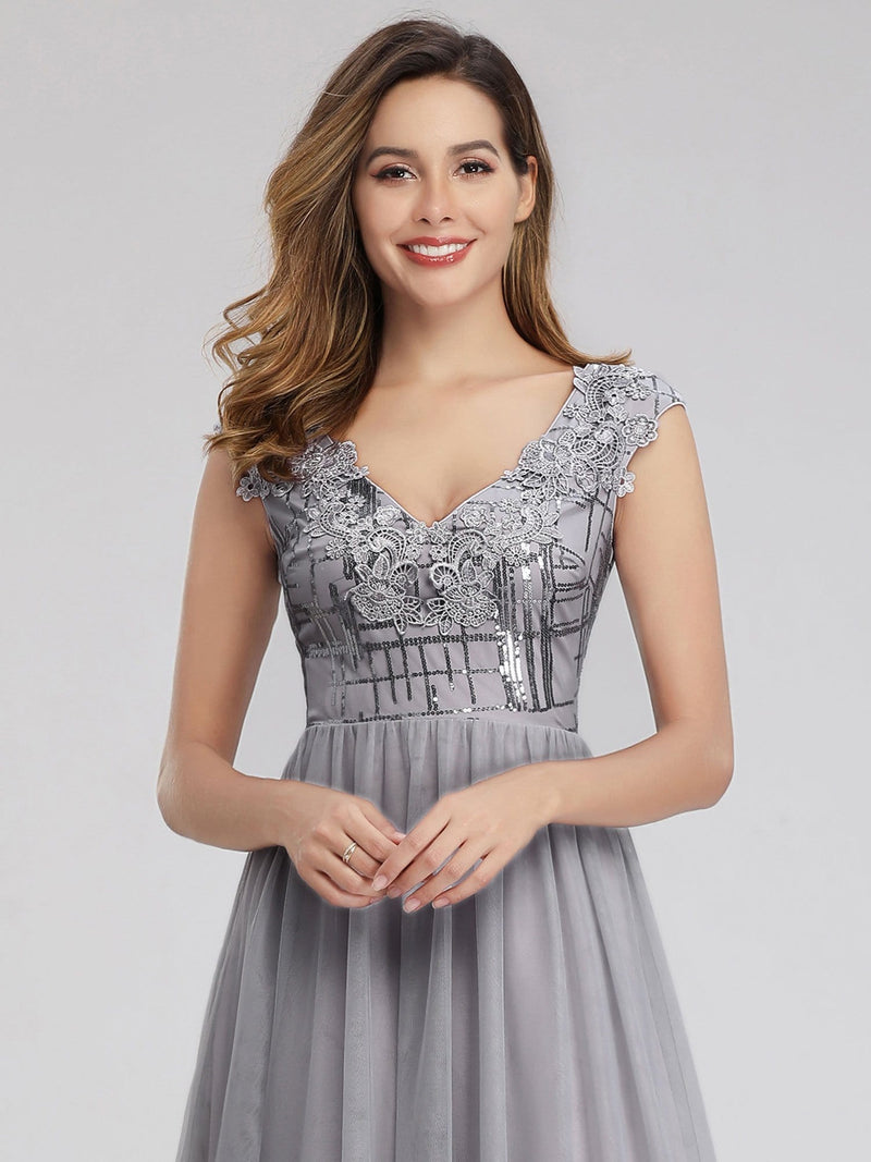 Ever-Pretty Aplique Floor Length Evening Dresses-Grey 5