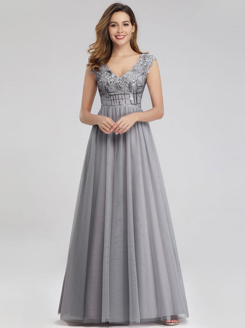 Ever-Pretty Aplique Floor Length Evening Dresses-Grey 4