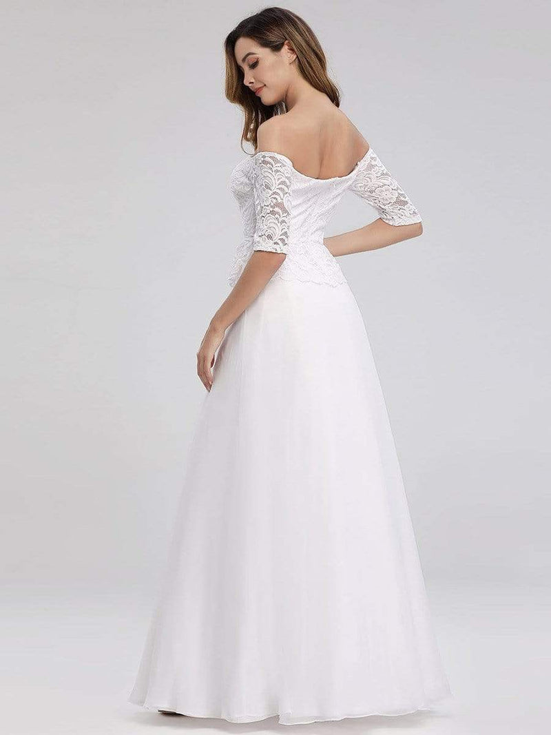 Romantic Off-Shoulder Floor Length Wedding Dress-White 2