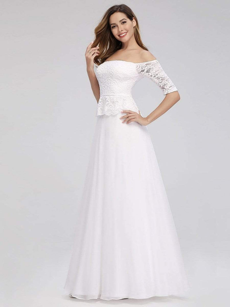 Romantic Off-Shoulder Floor Length Wedding Dress-White 3