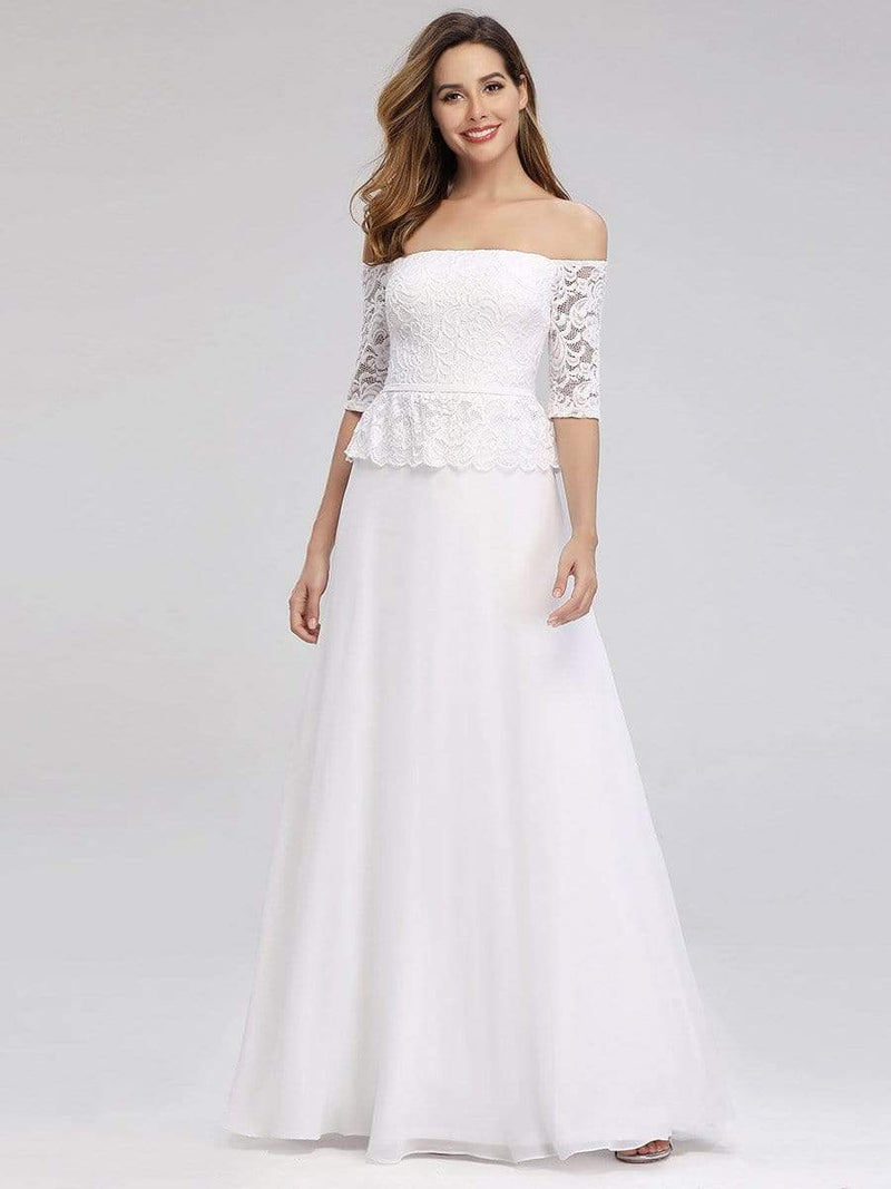 Romantic Off-Shoulder Floor Length Wedding Dress-White 4