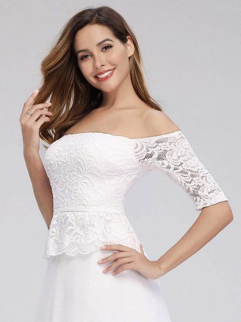 Romantic Off-Shoulder Floor Length Wedding Dress-White 5