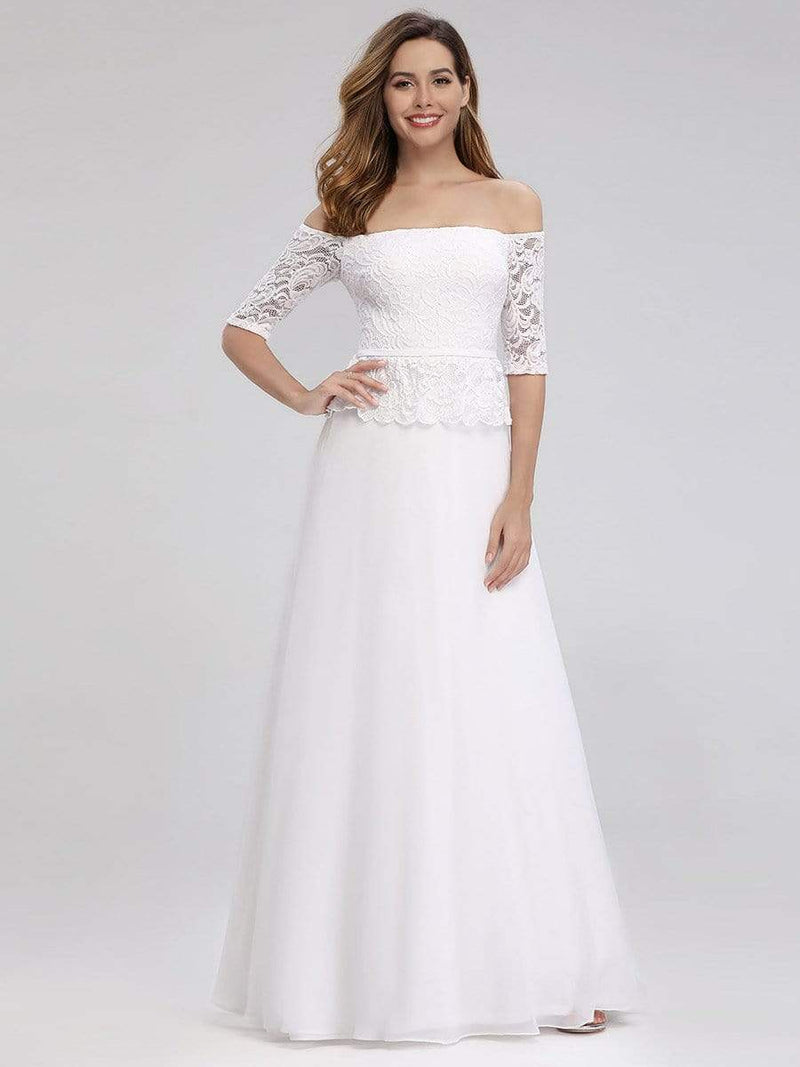 Romantic Off-Shoulder Floor Length Wedding Dress-White 1