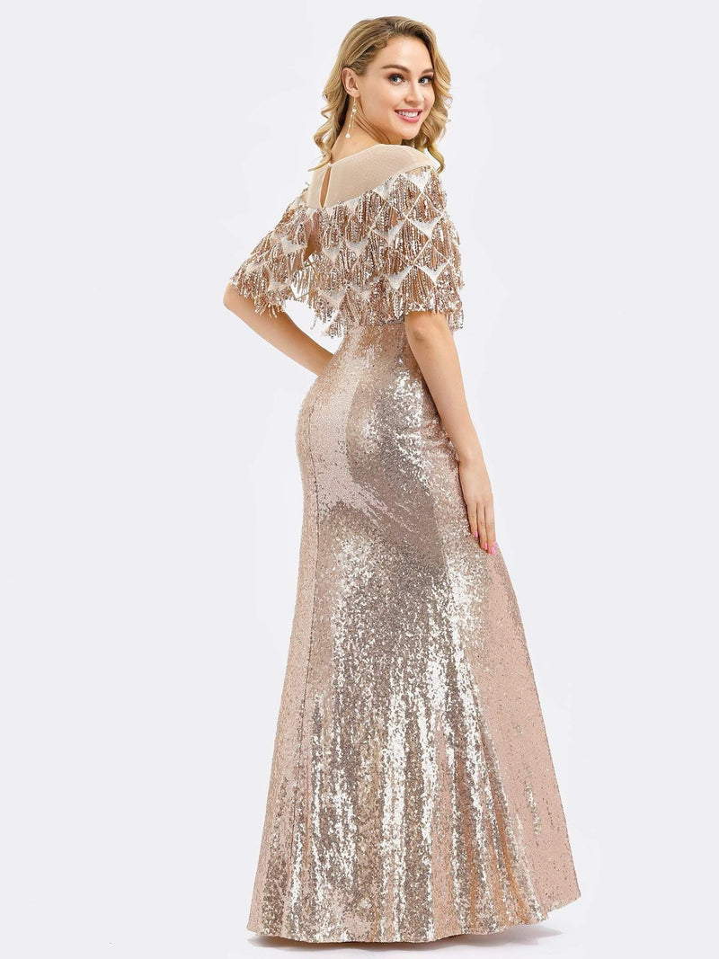 Gorgeous Shawl Sequin Fishtail Evening Dress-Rose Gold 2