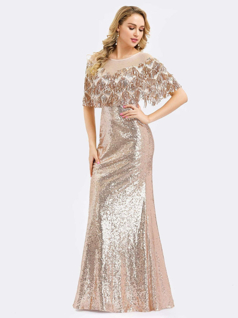 Gorgeous Shawl Sequin Fishtail Evening Dress-Rose Gold 3