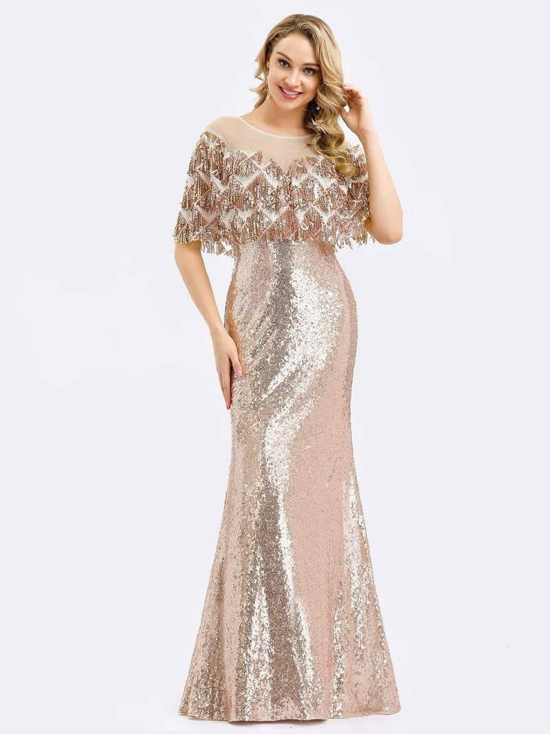 Gorgeous Shawl Sequin Fishtail Evening Dress-Rose Gold 4