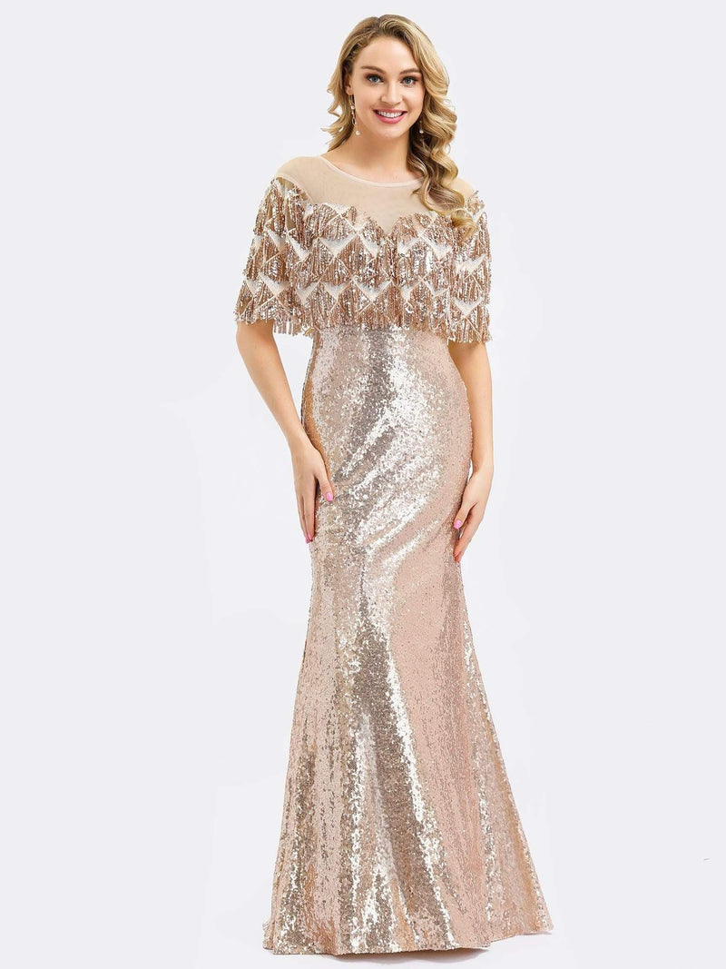 Gorgeous Shawl Sequin Fishtail Evening Dress-Rose Gold 1
