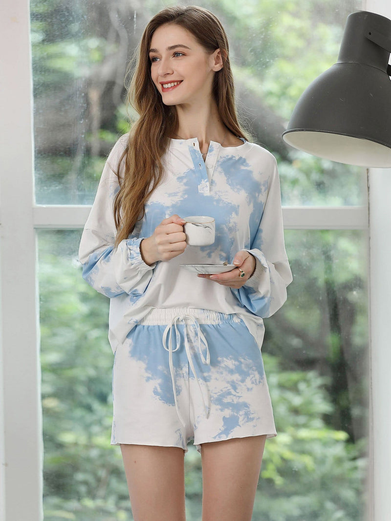 Women'S Casual Tie-Dye Pajamas Loungewear Set-Sky Blue 6