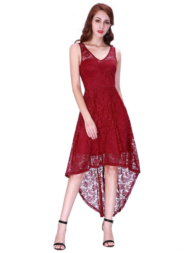High Low Lace Party Dress With V Neckline-Burgundy 2