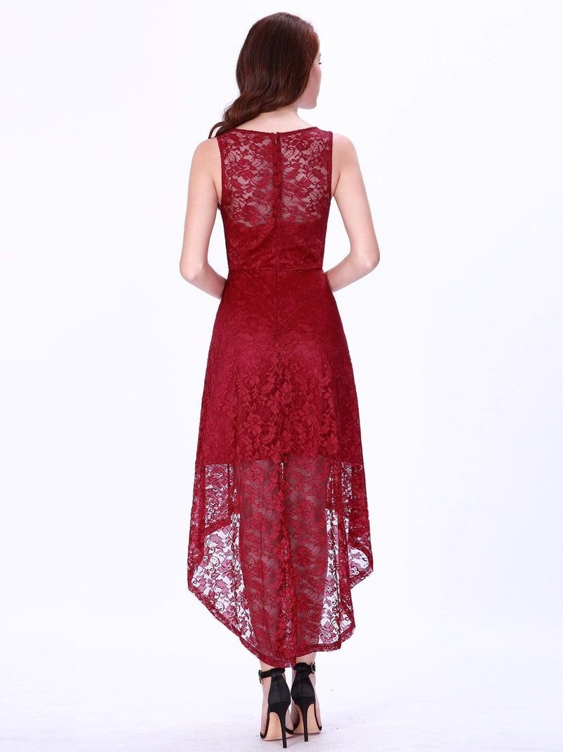High Low Lace Party Dress With V Neckline-Burgundy 3