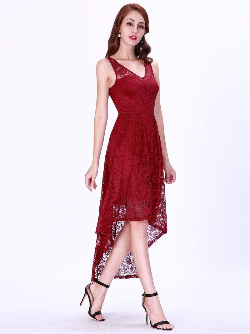 High Low Lace Party Dress With V Neckline-Burgundy 4