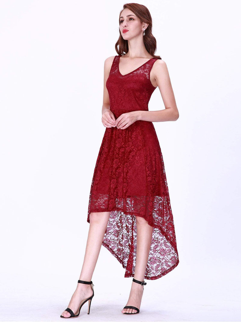 High Low Lace Party Dress With V Neckline-Burgundy 5