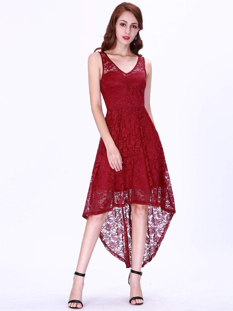 High Low Lace Party Dress With V Neckline-Burgundy 1