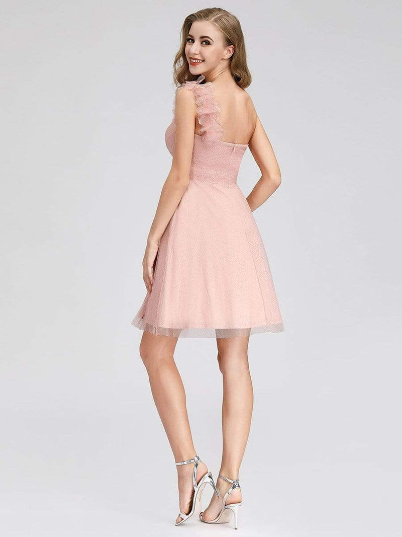 Women'S One Shoulder Sweetheart Knee-Length Bridesmaid Dress-Pink 2