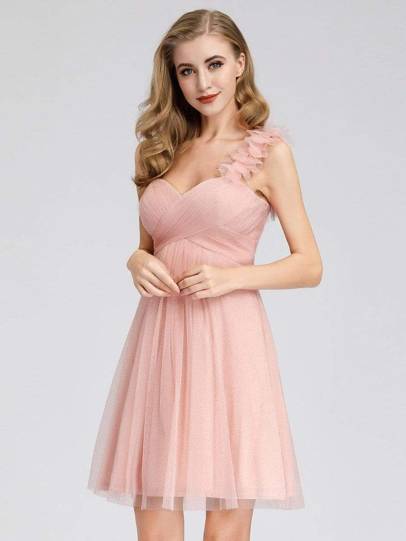 Women'S One Shoulder Sweetheart Knee-Length Bridesmaid Dress-Pink 3