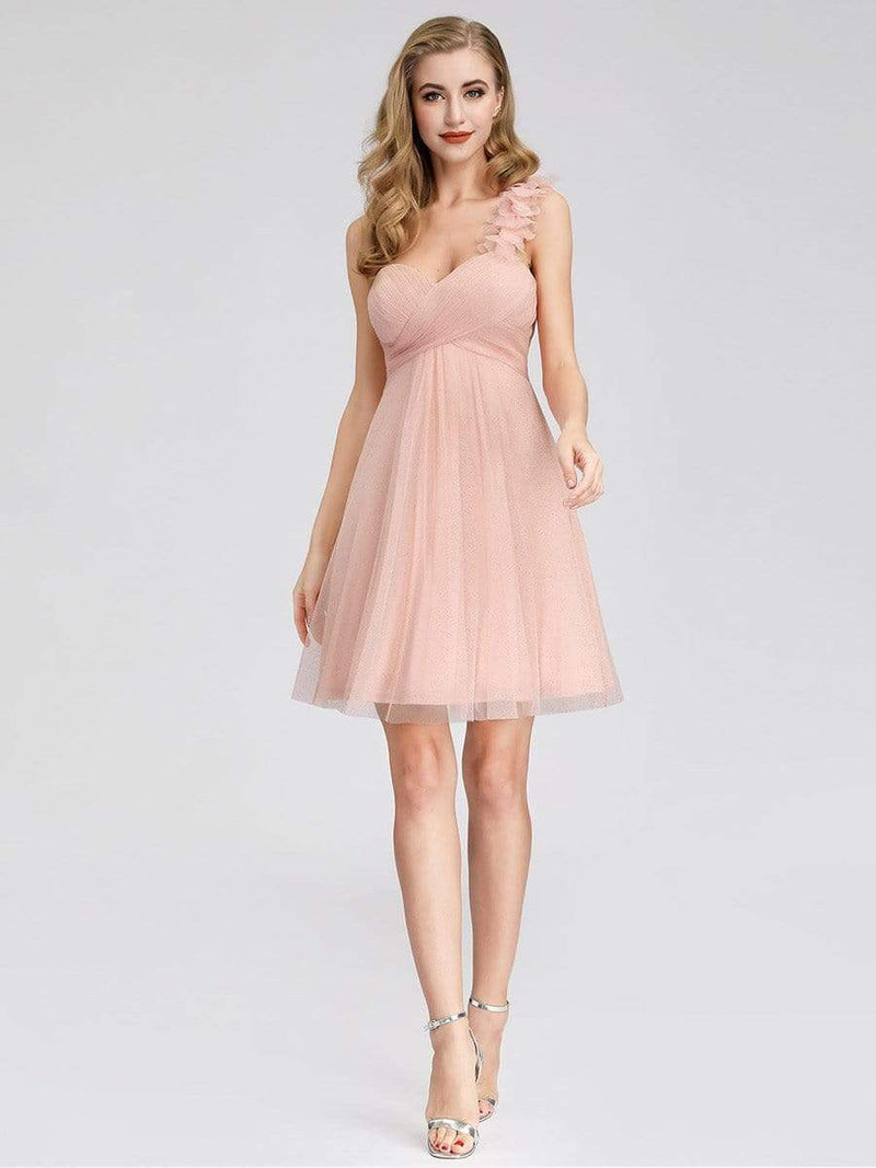 Women'S One Shoulder Sweetheart Knee-Length Bridesmaid Dress-Pink 4