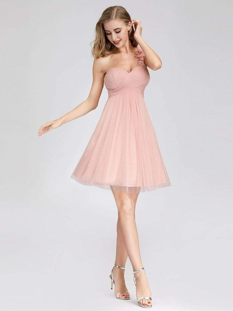 Women'S One Shoulder Sweetheart Knee-Length Bridesmaid Dress-Pink 1