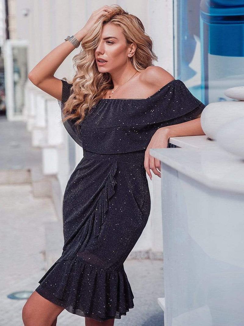 Women'S Off Shoulder Cocktail Dress With Ruffle Sleeves-Dark Purple 4