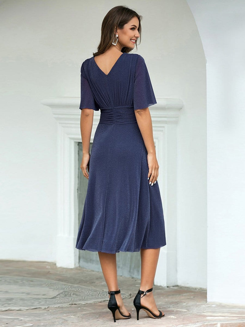 Classic V Neck Knee-Length Ruched Cocktail Dresses-Dusty Navy 2