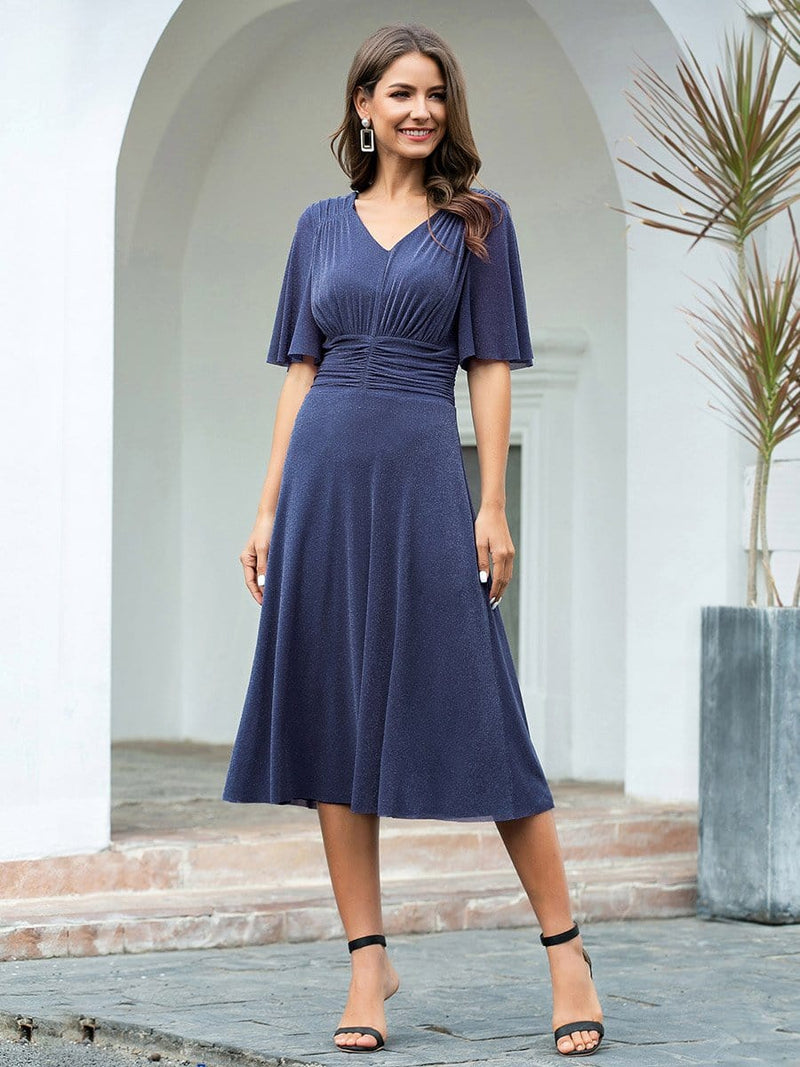 Classic V Neck Knee-Length Ruched Cocktail Dresses-Dusty Navy 4