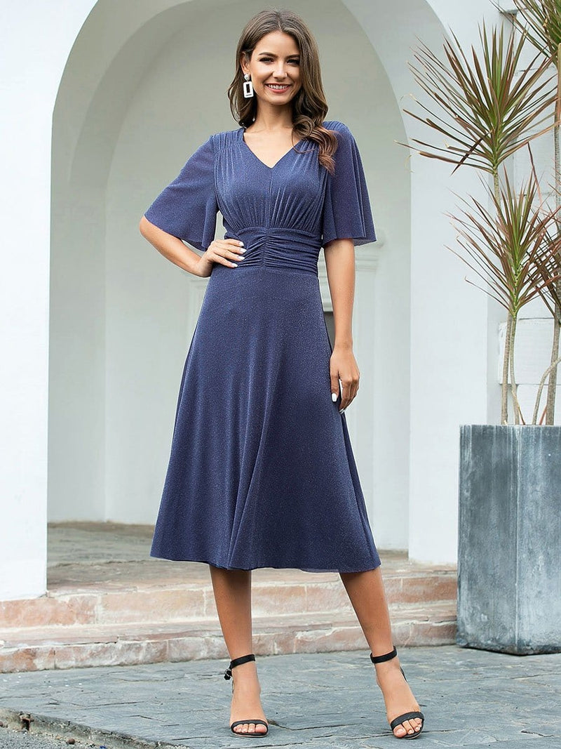 Classic V Neck Knee-Length Ruched Cocktail Dresses-Dusty Navy 1