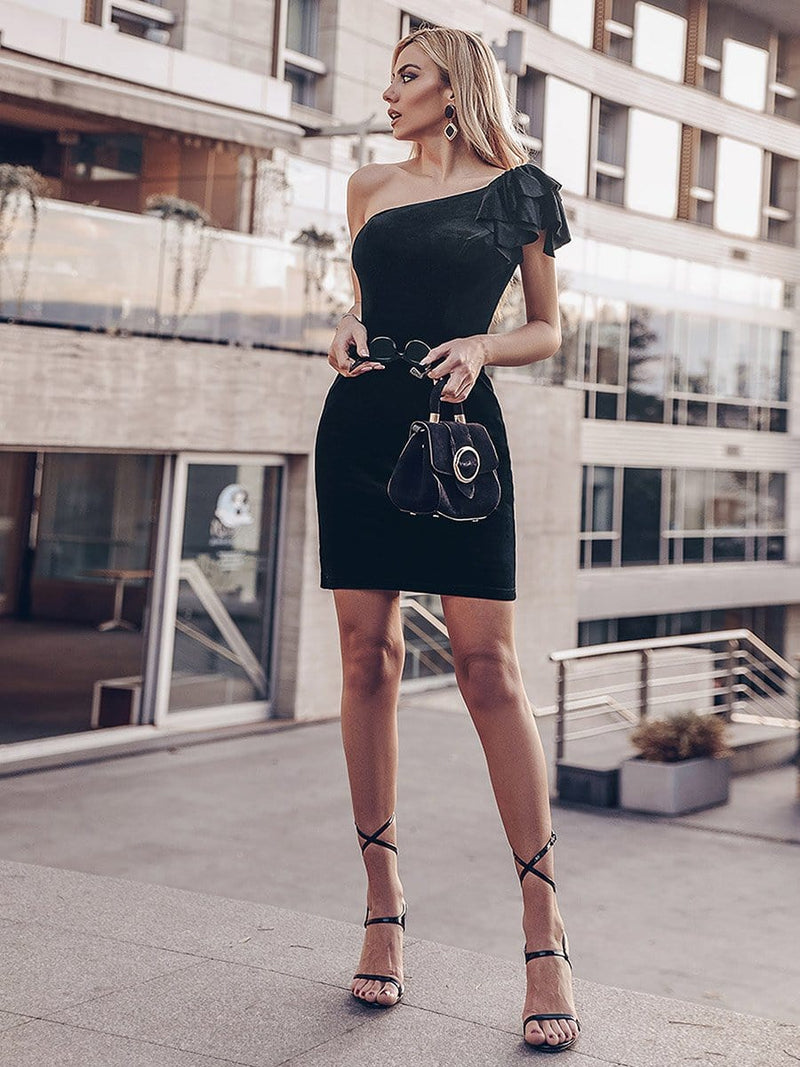 One Shoulder Short Velvet Party Dress-Black 2