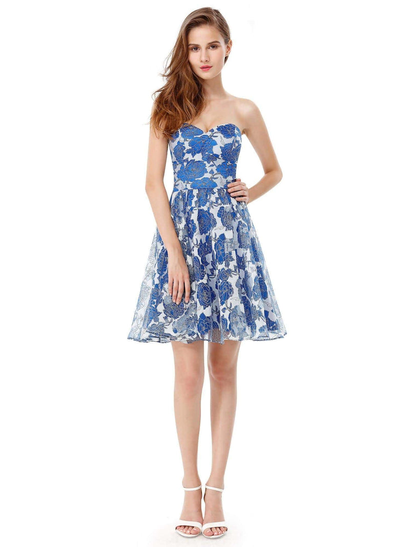 Strapless Floral Printed Short Prom Dress-Sapphire Blue 1