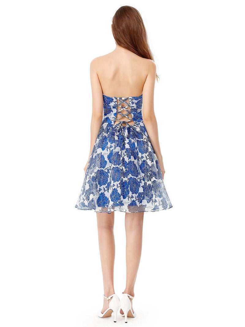 Strapless Floral Printed Short Prom Dress-Sapphire Blue 4