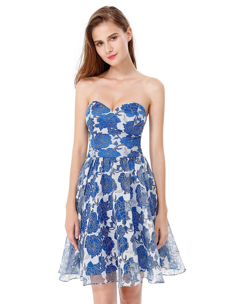 Strapless Floral Printed Short Prom Dress-Sapphire Blue 2