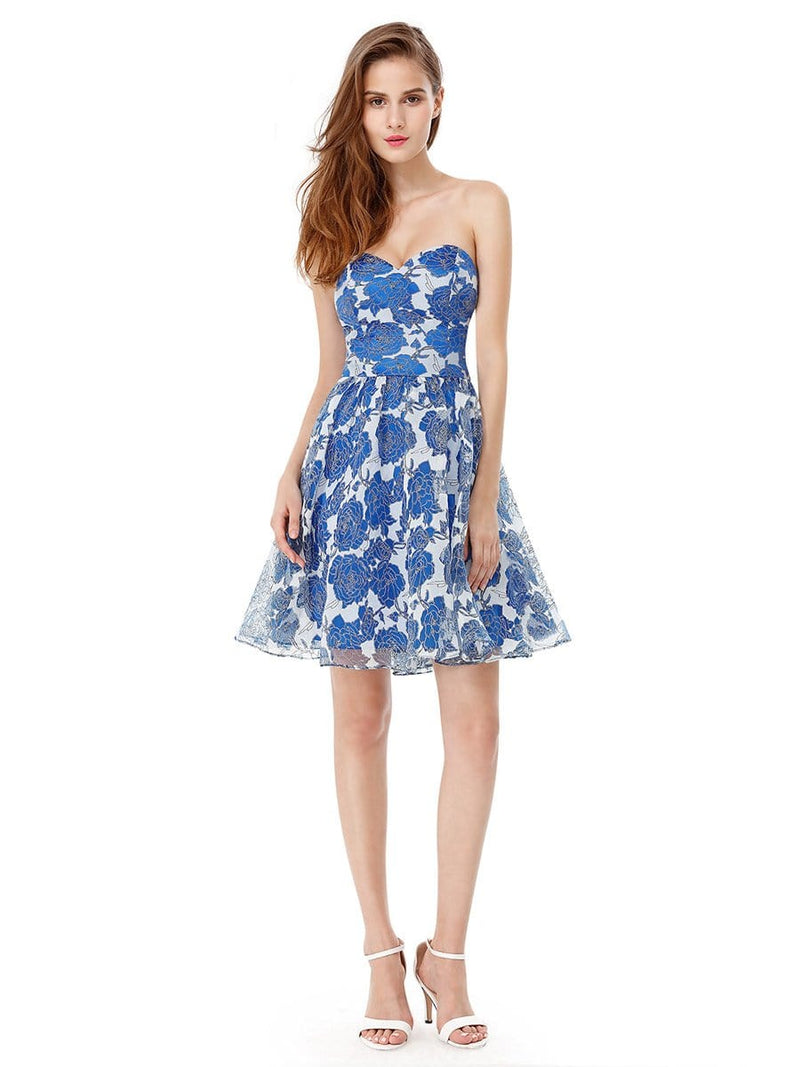 Strapless Floral Printed Short Prom Dress-Sapphire Blue 3