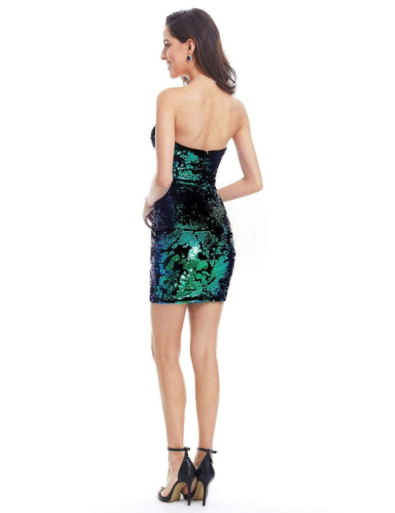 Strapless Sequin Mini Dress-Multi Color 2