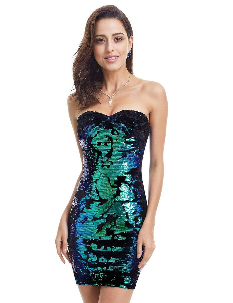 Strapless Sequin Mini Dress-Multi Color 4