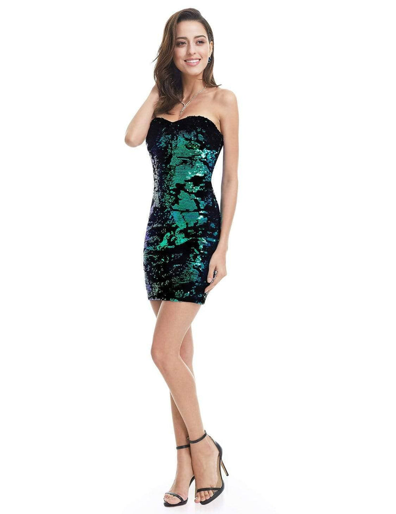 Strapless Sequin Mini Dress-Multi Color 1