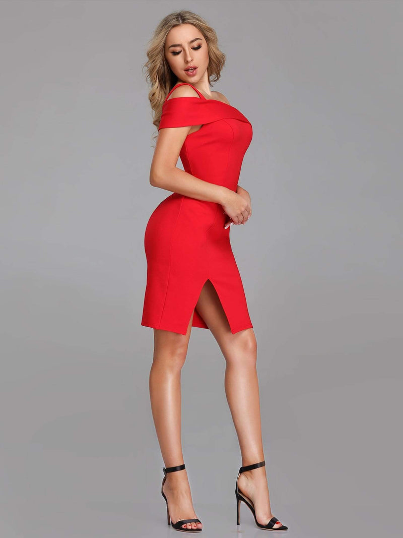Sexy One Shoulder Short Cocktail Dress-Red 3