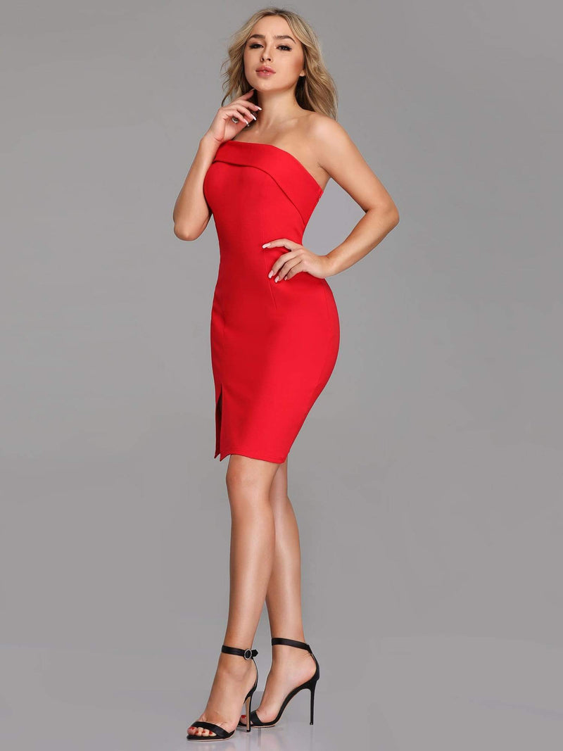 Sexy One Shoulder Short Cocktail Dress-Red 4