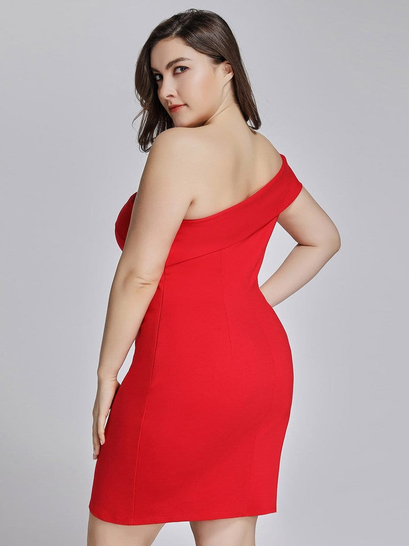 Sexy One Shoulder Short Cocktail Dress-Red 7