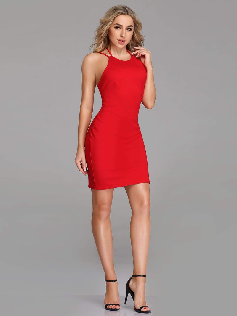 Sexy Open Back Cocktail Dress-Red 1