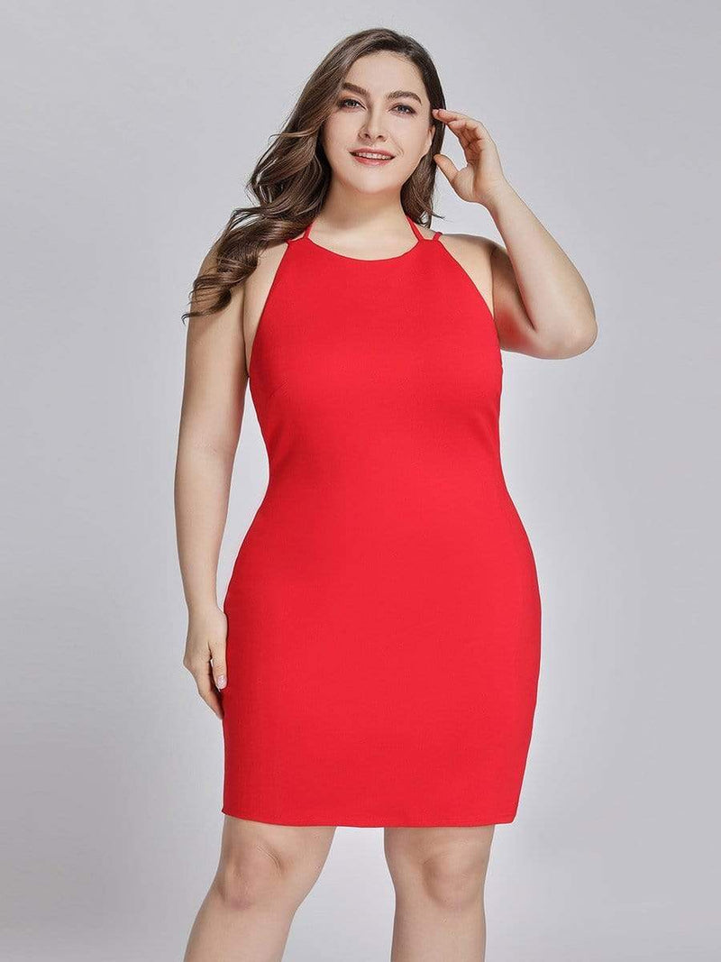 Sexy Open Back Cocktail Dress-Red 5