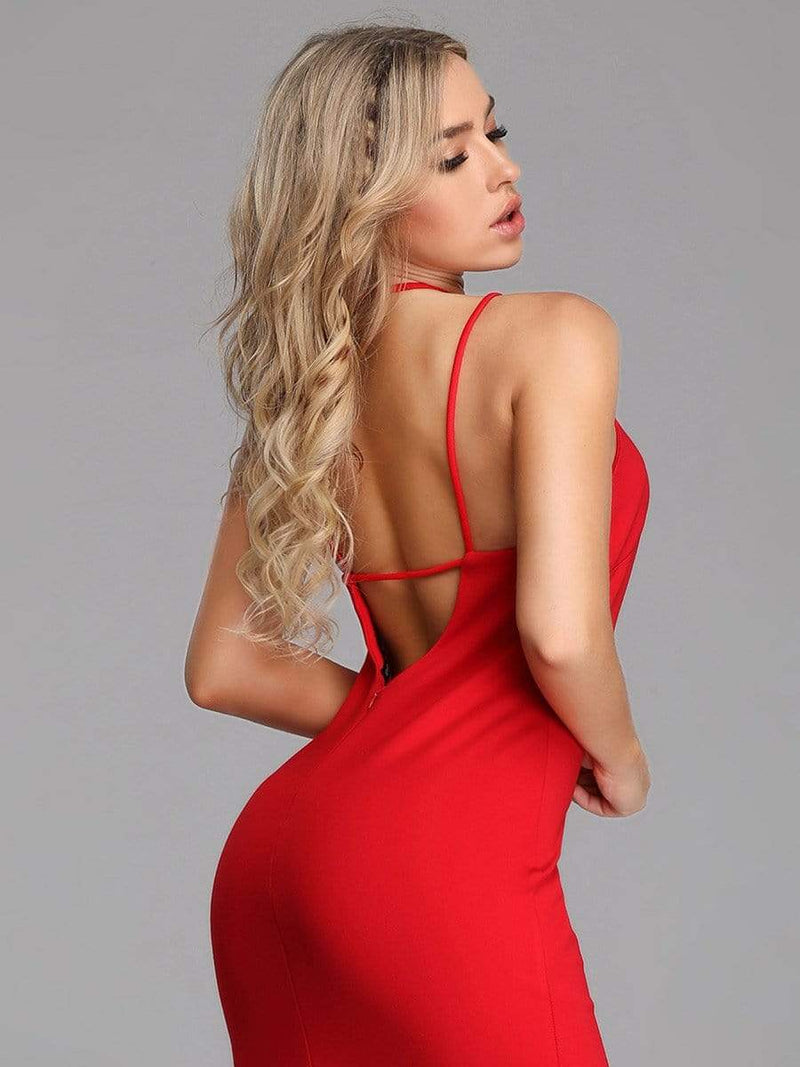 Sexy Open Back Cocktail Dress-Red 4