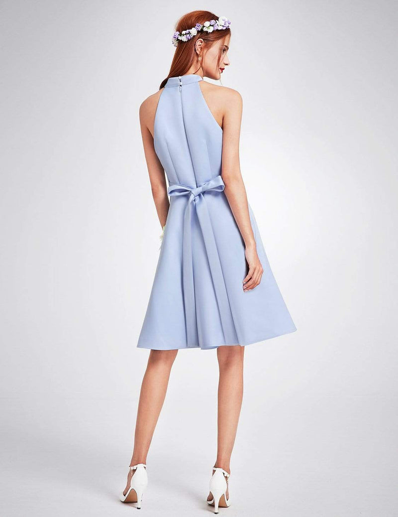 Knee Length Halter Bridesmaid Dress-Sky Blue 2