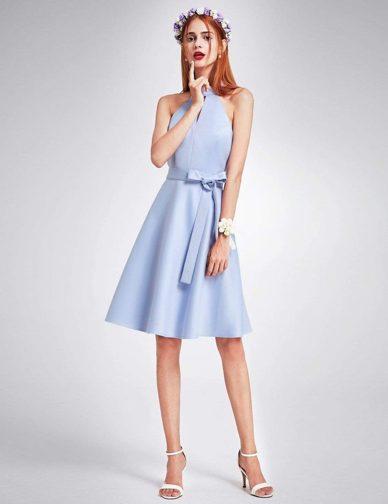 Knee Length Halter Bridesmaid Dress-Sky Blue 4