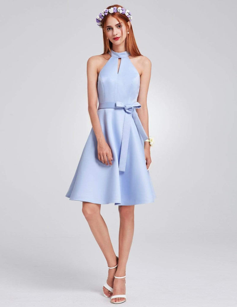 Knee Length Halter Bridesmaid Dress-Sky Blue 1