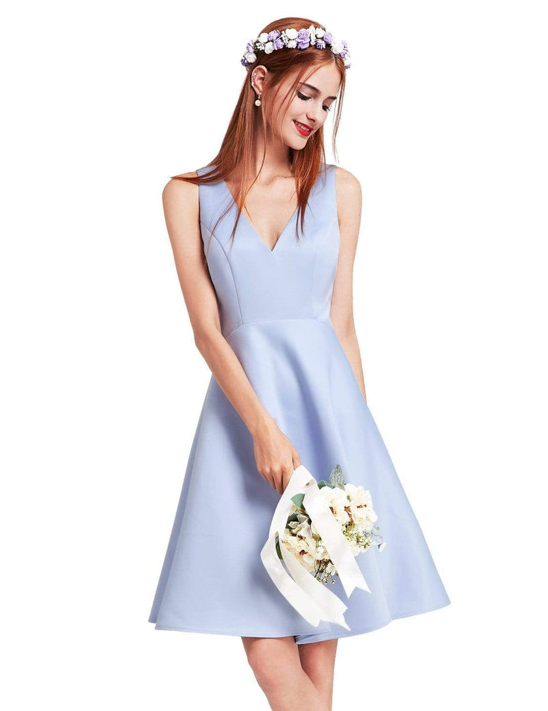 Short V Neck Bridesmaid Dress-Sky Blue 2